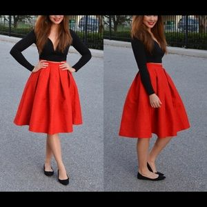 Oasap Fit and Flare Red Pleated Midi Skirt - S